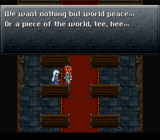 Literally, a woman of the Cathedral revealing her plans for world domination to Crono (you can't make this shit up!)